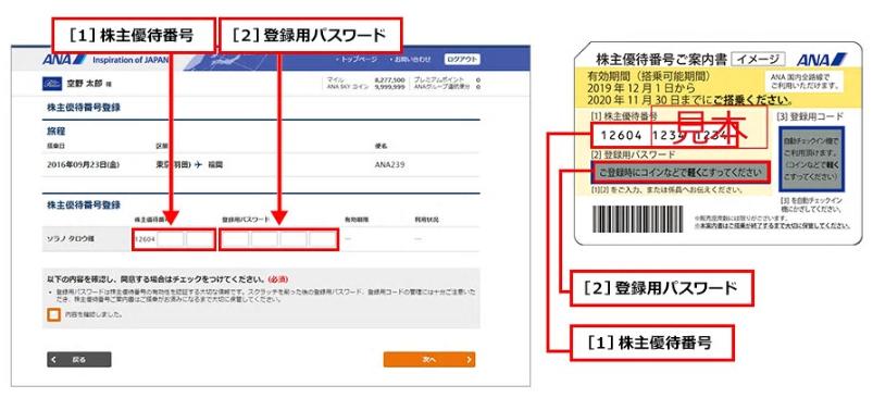 株主優待番号登録